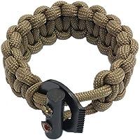PSKOOK Pulsera de Cuerda Elástica Paracord de Supervivencia Ajustable con Ferro Rod Scraper Tactical EDC Pulsera (Caqui)