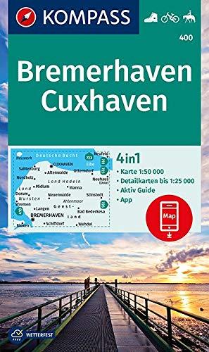 KOMPASS Wanderkarte Bremerhaven, Cuxhaven: 4in1 Wanderkarte 1:50000 mit Aktiv Guide und Detailkarten inklusive Karte zur offline Verwendung in der ... Reiten. (KOMPASS-Wanderkarten, Band 400)