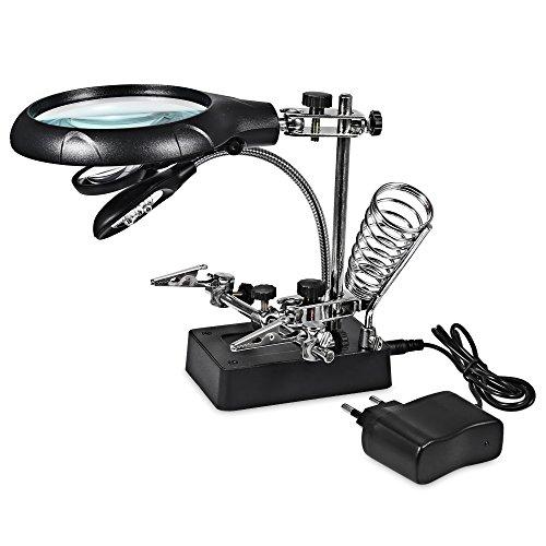 2.5X 7.5X 10X Objektiv Lupe Schreibtisch Lampe Reparatur Klemme, RosyXandy Neue Schweißen Lupe 5 LED Lupe Licht Desktop Lupe mit Alligator Clip