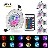 (Pack of 5)XJLED® 5W Led Deckenspots RGB Lights,AC85-265V, Farbige Leuchtmitte,Tolles Design Led Deckenleuchten LED Einbaustrahler Dekorative Leuchtmittel für Zuhause (5 Pcs)