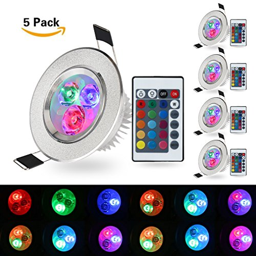 (Pack of 5)XJLED® 5W Led Deckenspots RGB Lights,AC85-265V, Farbige Leuchtmitte,Tolles Design Led Deckenleuchten LED Einbaustrahler Dekorative Leuchtmittel für Zuhause (5 Pcs)