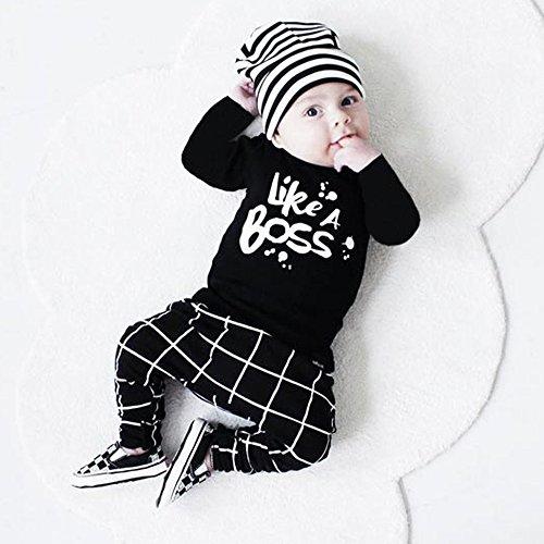 TTLOVE Herbst Baby Kleidung Set,Neugeborene Jungen Mädchen Cartoon Print Tops Strampler +Hosen Leggings Mit Cap,Unisex Infant Lange äRmel T-Shirt + Hose +Hut Overall Outfits Set (Schwarz,70 cm) -