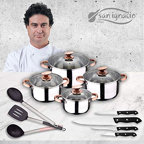 San Ignacio Premium Bateria 8 Piezas + 4 Cuchillos + 3 Utensilios, Acero Inoxidable, Cobre