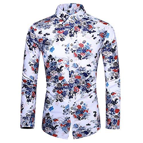 Herren Langarm 3D Drucken Hemd Hawaii-Print Hemd Strand Knopf Hemden und Badehose -