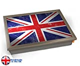 Union Jack Flag UK United Kingdom Cushion Lap Tray Kissen Tablett Knietablett Kissentablett - Chrome Effekt Rahmen