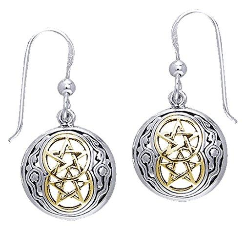 Alterras - Ohrringe: Keltische Pentagramme vergoldet aus 925-Silber (Ohrring Keltische)