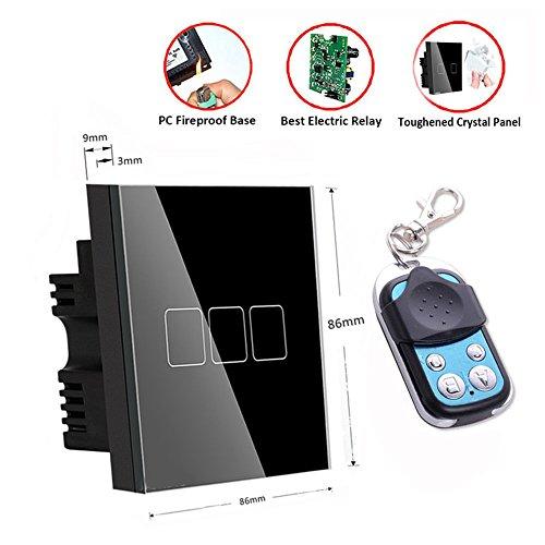 Smart Touch Bildschirm-Schalter, schwarz UK Standard Touch Panel Fernbedienung Smart Light Wand Switch 3Gang Kristall-Glas Panel Home Wand-Leuchte Schalter nur leben & Feuern Verkabelung erforderlich (Drei-panel-bildschirm)