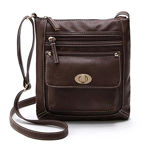 EVAEVA-bags Pu Leder Schultertasche Umhängetasche aus Leder für Damen Shopper Handtasche Messenger Handtasche Mit ReißVerschluss -