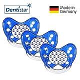 Dentistar Schnuller 3er Set- Nuckel Silikon in Größe 3, ab 14 Monate - zahnfreundlich & kiefergerecht - Beruhigungssauger für Babys - Blau Anker