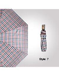 FKYS Automático paraguas tres veces estilo a cuadros paraguas de negocios paraguas plegable paraguas de vinilo