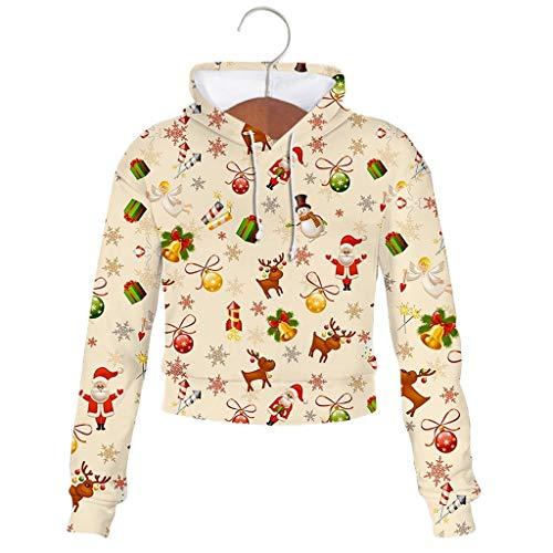 TOPGKD Weihnachtspullover Damen Kapuzenpullover Sweatjacke Sweatshirt Festliche Neuheit Frohe Weihnachten Kurz Kapuzenpullis Winterpullover Jacke Mantel (Beige, XXS)