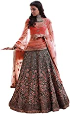 Swara Fashion Women's Banglori Silk With Blouse Piece Lehenga Choli(SFPSN-83_Navy Blue, Peach)