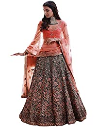 Swara Fashion Women's Banglori Silk With Blouse Piece Lehenga Choli(SFPSN-83_Navy Blue, Peach)