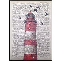 Vintage Rosso Faro Stampa Artistica immagine Pagina di dizionario nautico spiaggia