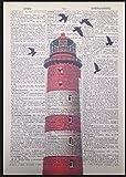 Parksmoonprints Kunstdruck mit Design roter Leuchtturm und Wörterbuch-Seite, Antik-Look