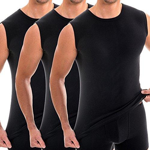 HERMKO 3040 3er Pack Herren Tank Top Unterhemd mit Rundhals-Ausschnitt, Farbe:schwarz, Größe:D 5 = EU - Nicht Alle Männer Kostüm