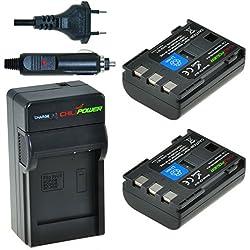 ChiliPower NB-2LH, NB-2L, BP-2L5, BP-2LH Kit: 2x Batterie (900mAh) + Chargeur pour Canon EOS 350D, 400D, Digital Rebel XT, XTi, PowerShot G7, G9 , S30, S40, S45, S50, S60, S70, S80, DC410, DC420, VIXIA HF R10, HF R100, HF R11, Kiss Digital N, Canon Optura 30, 50, 60, 40, 400, 500, Canon Elura 60, 50, 65, 70, 80, 85, 90, 40mc, Canon ZR-200