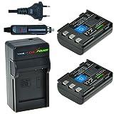 Chili Power NB-2LH, NB-2L, BP-2L5, BP NB-2LH Kit: 2X batteria + caricabatteria da auto per Canon EOS 350d, 400d, Digital Rebel XT, XTi, PowerShot G7, G9, S30della S80, DC410, DC420, VIXIA HF R10, HF R100, HF R11