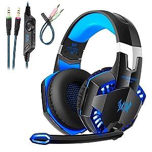 Gaming Kopfhörer für PS4 PC Computer Professioneller 3,5mm Gaming Headset|Stereo Sound Mikrofon mit Rauschunterdrückung und Lautstärkeregler|Egonomisches Design, geringes Gewicht