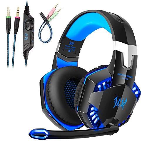 Gaming Headset Kopfhörer für PS4 PC Xbox One, Gaming-Headset mit Mikrofon, LED Light Bass Surround Professional Kopfhörer für Computer Laptop Mac