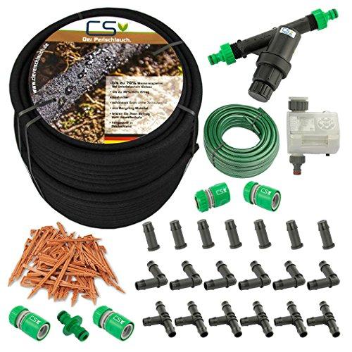 CS Bewässerungssysteme GmbH 100m CS Perlschlauch Startup Z15 mit Bewässerungscomputer,Wasserfilter,Druckregulator,+20m Gartenschlauch mit Anschlüssen und umfangreichem - Hochbeet-anschlüsse