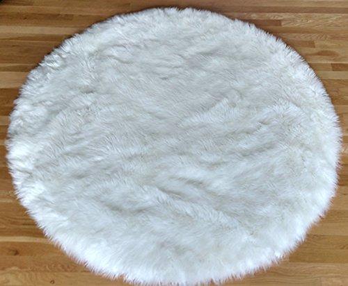 Shag Teppich Acryl (HomeWorx Kunstfell Pelz Bereich Teppich Shaggy Pure weiß Shag rund (5'X5'))