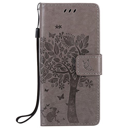 Sony Xperia E5 Case Leather [Gray], Cozy Hut [Wallet Case] Premium Soft PU Leather Notebook Wallet Embossed Flower Tree Design Case with [Kickstand] Stand Function Card Holder and ID Slot Slim Flip Protective Skin Cover for Sony Xperia E5 5,0- Gray Test