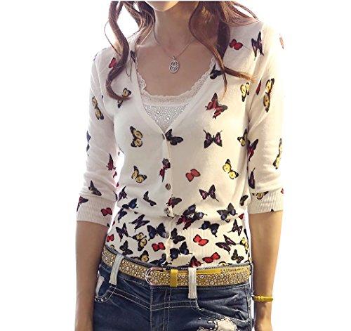 Keral Frauen  Druck Strickwaren Schmetterling V-Ausschnitt Single Reiher lange Ärmel Strickjacke (Weiß) (Strickjacke V-ausschnitt Druck)