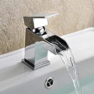 Moderne Waschbeckenarmatur mit Wasserfall-Design, klein, quadratisch, Chrom