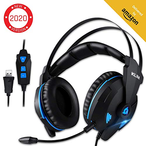 KLIM Impact V2 - Gaming Headset und Mikro (USB) - 7.1 Surround-Sound + Isolation - Hochqualitativer Klang + Klangvolle Bässe - Gaming Headset und Mikro für PC/PS4 Videospiele [ Neue 2020 Version ]