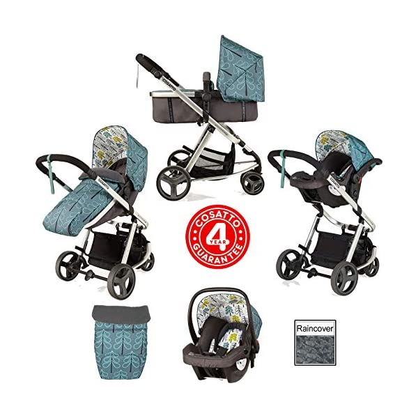 Cosatto Giggle Mix pram and Pushchair in Fjord with car seat Base & raincover Cosatto Includes: Chassis,Seat unit, Hold Car seat,Isofix base,Car seat adaptors,Raincover, Apron and 4 Year guarantee(UK and Ireland only) Suitable from birth up to 15kg. One unit transforms from newborn pram mode into pushchair mode. Space saving. No need to buy separate carrycot.. Colour packs available so you can change the look to suit your mood, family and adventures. Includes hood, pram apron and padded pushchair apron. 2