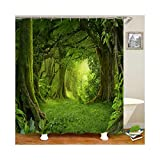 Beydodo Duschvorhang Antischimmel Wald 3D Lustiger Duschvorhang 120x180 cm
