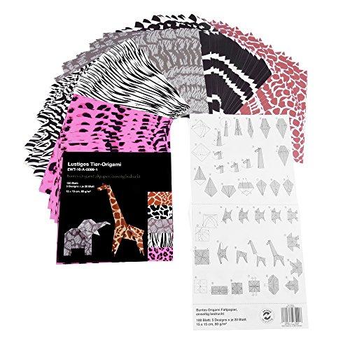 Lustiges Tier-Origami Papier, Bastelpapier, 100 Blatt, 5 verschiedene Designs, 15 x 15 cm, mit Anleitung