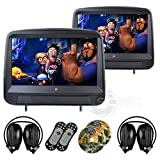 Sonic Audio HR-9A - Universal Leather-Style Car DVD/Multimedia Touch-Screen Headrest Monitors with USB/SD and Games - Includes 2 x Wireless Headphones - Black Colour