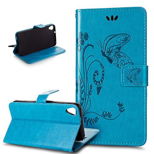 Kompatibel mit HTC Desire 820 Hülle,HTC Desire 820 Lederhülle,Handyhülle Prägung Groß Schmetterling Blumen PU Lederhülle Flip Hülle Cover Ständer Wallet Case Schutzhülle für HTC Desire 820,Blau