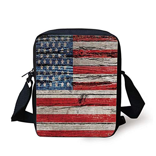 Floral Print Panel (Rustic American USA Flag,Fourth of July Independence Day Painted Wooden Panel Wall Looking Image Freedom, Print Kids Crossbody Messenger Bag Purse)