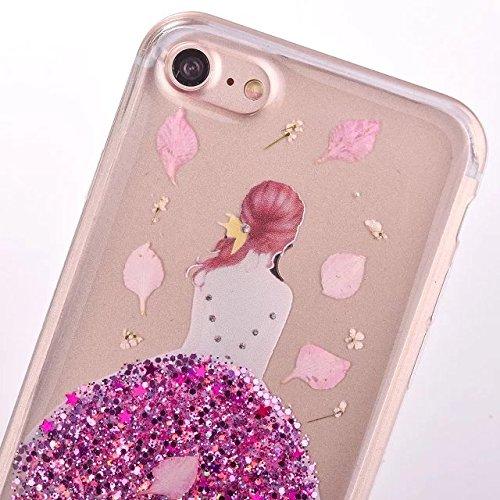 SKYXD Cover Sottile per iPhone 7 Plus TPU Silicone Morbido Soft Case Gel Trasparente e Cristallo Protettiva Custodia Glitter Brillantini Resistente Antiurto Guscio Protettivo con Disegni Creativo Bell Rose Fiore Ragazza
