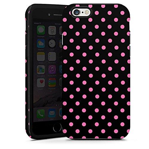 Apple iPhone 6 Plus Housse Étui Protection Coque Points Rose vif Noir Cas Tough terne