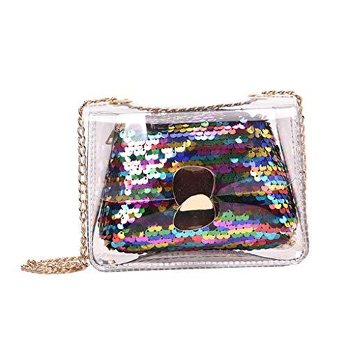 TIFIY Damen Rucksack Damenmode-Gelee-transparente Beutel-Quadrat-Paket-Sequin-Kettenkurierbeutel Arbeits Täglich Bankett Elegant Tasche(Mehrfarbig)