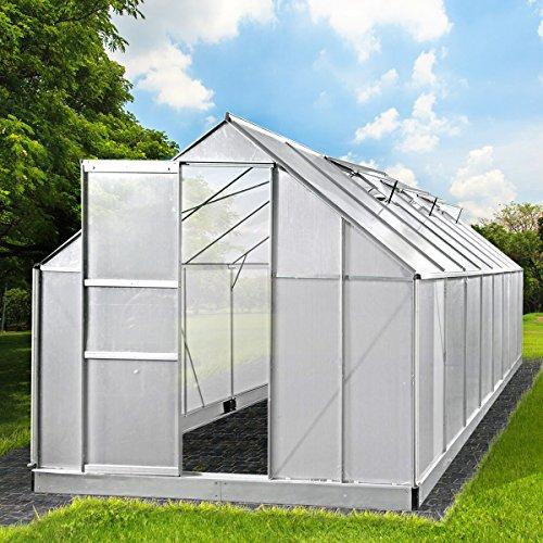 Aluminium Gewächshaus mit rostfreiem Stahlfundament 19,6 m³ Alu Gartenhaus 490x250x205cm Treibhaus...