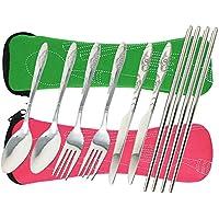 FIBOUND Camping Utensilios al aire libre Cuchillería Conjunto de grado militar de tenedor, cuchara, cuchillo y palillos de acero inoxidable (Verde y rosa)