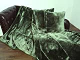 3tlg. Set Kuscheldecke Tagesdecke Uni dunkel grün 160x200cm + 2 Kissen 40x40cm