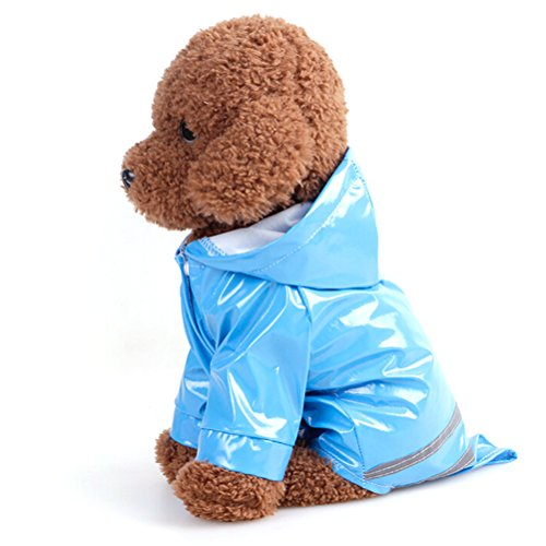 UEETEK Impermeables Chubasqueros Reflectante con Capucha para Pequeños Medianas y Grandes Mascota Perro size Tamaño S