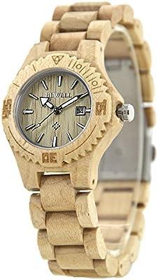 Bewell zs-020al pantalla fecha de reloj de madera de arce madera de sándalo relojes de pulsera movimiento de cuarzo de las mujeres