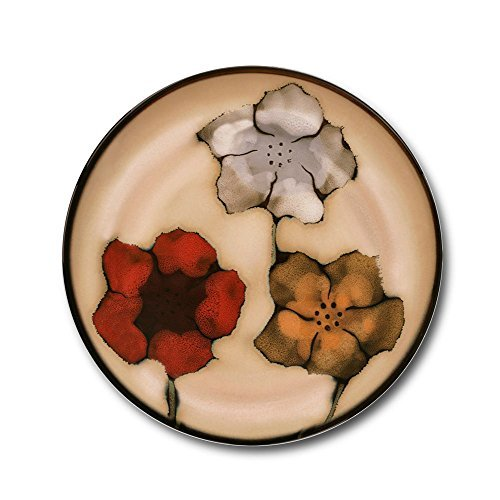 Pfaltzgraff Everyday Painted Poppies Set of 4 Coasters - Tan|Black|Red