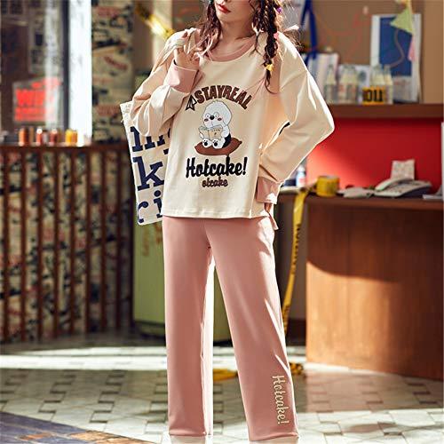 DUXIAODU Damen Schlafanzug Zweiteiliger Schlafanzug Einfarbige Baumwolle Pyjama Set mit Rundhalsausschnitt,Baumwollsüßer süsser Set Bademantel A-7 M