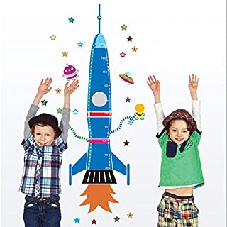 ASENART Cartoon Spaceship Rocket Height Chart Decal Art for Kid's Room Home Decoration Size 64
