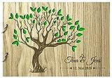 Livingstyle & Wanddesign Rustikales Gästebuch aus Holz zur Hochzeit mit Namen und Datum, Motiv 14, 76 Seiten/38 Blatt