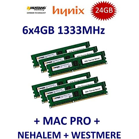 24 GB Triple Channel Kit Mustang/Hynix 6 x 4 GB DDR3 1333 mhz PC3-10600E 240 (Ecc Unbuffered Dimm A 240 Pin)