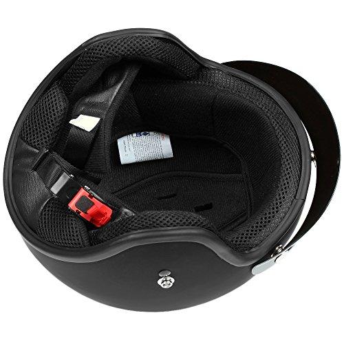 Mach1® Jethelm Motorradhelm schwarz Roller Scooter Helm Größe XS bis XXL mit abnehmbarem Schirm (Größe 63-64 cm XXL) (Schwarz-matt, 57-58cm (M)) - 4